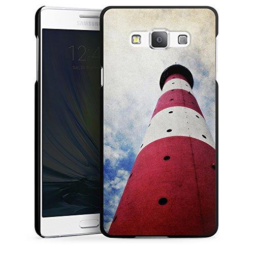"""Preisvergleich Produktbild artboxONE Handyhülle Samsung Galaxy A7, schwarz Hard-Case Handyhülle """"Leuchturm II Case"""" - Architektur - Smartphone Case mit Kunstdruck hochwertiges Handycover von AD Design"""