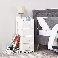MissSnower White Wooden Chest of Drawer Bedside Cabinet Storage Unit 4 Drawers Round Handle