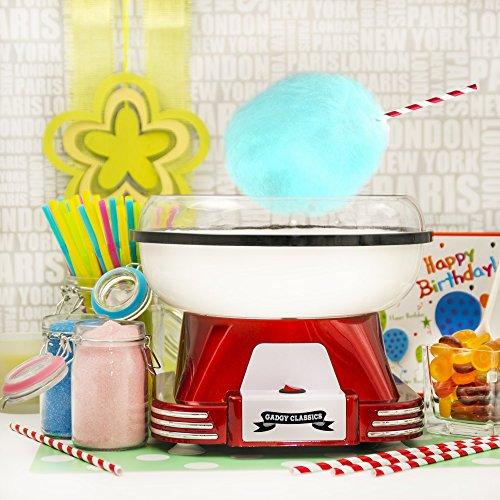 Gadgy ® Zuckerwattemaschine | Retro Cotton Candy Machine für Zuhause | mit Zucker oder Zuckerfreie Harte Süßigkeiten Bonbons zu Benutzen | 500W Rot Weiß -