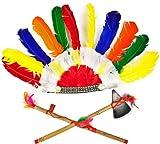 Indianer Indianerhäuptling Kopfschmuck Federn Pfeife & Beil