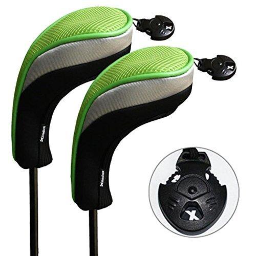 Andux 2/Set Golf Hybrid Club Head Covers mit austauschbaren keine. Tag 2Stück, schwarz / grün -