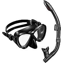Gafas y Tubo de Buceo de OMorc, Top Set de Snorkel con Templado antiniebla cristal Máscara de buceo en seco para Adultos y Junior, Negro