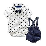 Culater 2018 New Newborn Summer Boys Vestiti da Gentiluomo ❤️❤ Papillon Top T-Shirt + Bretelle Pantaloncini + 2 Pezzi per Baby Boy (12-24 Mesi, Bianca)