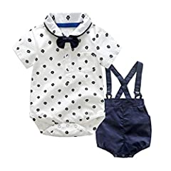 Idea Regalo - Culater 2018 New Newborn Summer Boys Vestiti da Gentiluomo ❤️❤ Papillon Top T-Shirt + Bretelle Pantaloncini + 2 Pezzi per Baby Boy (12-24 Mesi, Bianca)
