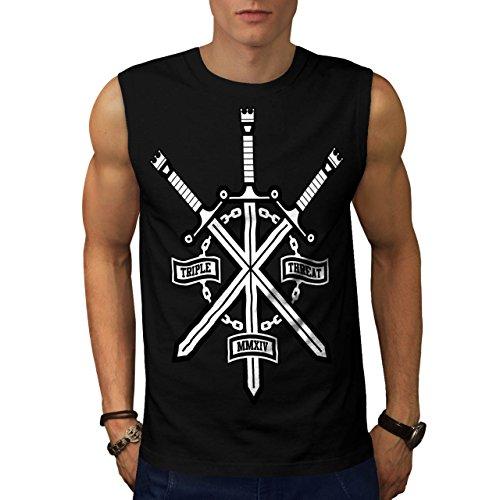 Militär-armee-scharfschütze-t-shirt Top (Verdreifachen Schwert Nerd Gaming Schlacht Krieg Herren S Ärmellos T-shirt | Wellcoda)