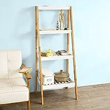 sobuy frg157 wn tagre bibliothque style chelle pour salon salle de bain avec 4 - Etagere Echelle Salle De Bain