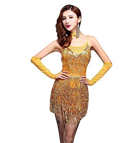 Paillette LatinTanzkostüm Lateinische Kleidung Latein Kostüm Tanzenkleid L Gold (Damen Latin Dance Kostüme)