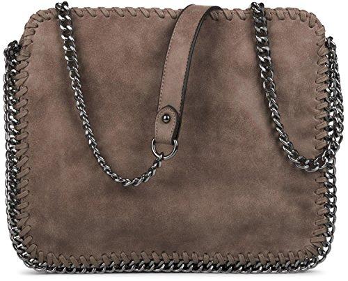 styleBREAKER edle Umhängetasche mit eingearbeiteter Gliederkette in rockigem Style, Lederimitat, Damen 02012020, Farbe:Braun