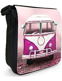 Old Camper Van Small Black Canvas Shoulder Bag - Size Small