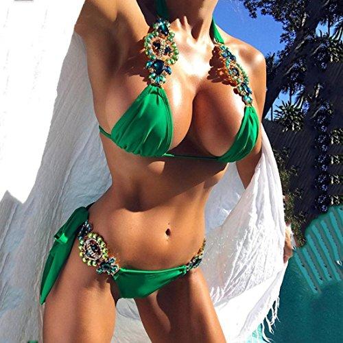 Tpulling Femme Bandage bikini set push-up rembourré maillots [ maillot de bain femme 2 pieces ] green