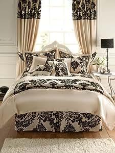 Royal Damassé Crème Noir Satin Couvre lit - Couverture, 2 personnes (260 x 240cm) + 2x Taies 50x75 de luxe