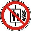 Verbotszeichen - Aufzug im Brandfall nicht benutzen - Ø 50 mm - 100 Verbotsschilder aus Polypropylen Folie, weiß (Aufdruckfarbe: schwarz/rot), permanent haftend
