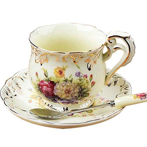 Asentechuk® Porcelaine anglaise en céramique Fleur Tasse à café Ensemble de thé avec soucoupe Cuillère à café Maison Fournitures, Céramique, pivoine, 8 x 8cm