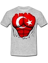 Spreadshirt Torse Musclé Drapeau De La Turquie T-Shirt Homme 415cac421cd