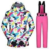 Never-hu Damen Skijacke im Freien wasserdicht Winddicht warmen Mantel Snowboard Mountain Regenjacke helle Bunte Print Outdoor Sports Skianzug Jacke