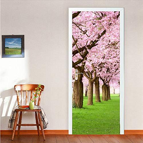 GBICjdojf Sakura Tree Door Stickers Adhesive Vinyl Wallpaper for Living Room Bedroom Cherry Blossoms Mural Paper DIY Waterproof Decals