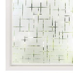 rabbitgoo Fensterfolie statisch haftend Sichtschutzfolie Selbstklebend Klebefolie Milchglasfolie Fenster Folie Milchglas Dekofolie für Bad Küche Anti-UV – Kreuz – 44.5 x 200 cm