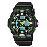 Montre de sport électronique,2018 WINWINTOM Grande Promotion SYNOKE Multi-Fonction 50M éTanche Sports De Plein Air Double Fuseau Horaire LED NuméRique Double Action Watch (vert)
