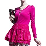 Oberteile Damen Elegant Slim Fit Tops Frühling Herbst Mode Langarm Rundhals Pullis Kleidung Spleiß Spitze Mit Volant Classic Cardigan (Color : Rose, Size : M)