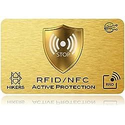 Carte Anti RFID/NFC Protection Carte bancaire sans Contact, 1 Suffit, Fini Les étuis et Pochettes, Le Portefeuille est entièrement protégé, Carte de crédit, Cartes Bleues, CB, Passeport. Cadeau Noel