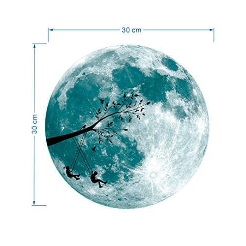 e Moon Fluorescent Wall Sticker Removable Glow In The Dark Sticker (A) (Glow In The Dark-dekorationen Für Raum)