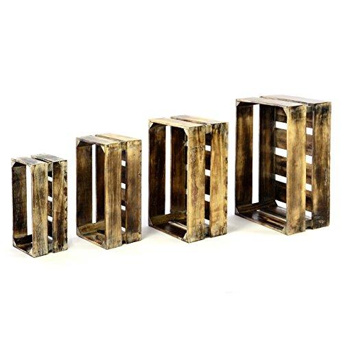 Divero 4er Set Vintage Holzkisten geflammt braun Staubox Weinkiste Obstkiste Aufbewahrungsbox 4 Größen Stapelbox Spielzeugkiste Regal-Box