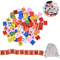 Ozuar - 100 piezas de madera alfabeto Scrabble azulejos coloridos letras de madera números con 1 bolsa de lino con cordón para coleccionar, para Scrabble Board Game Craft Pendent Decoración Infantil Educativa