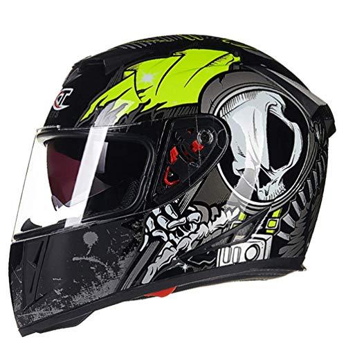 D-JIU Vollgesichts-Motorradhelmkappe Offroad-UV-Schutz Anti-Fog-Winddicht Hochklappbare Motorradhelme für Moto Motocross-Rennen in Allen Jahreszeiten,H,XL