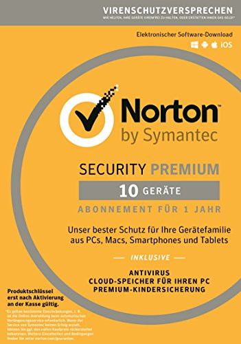 Norton Security Premium 2018 | 10 Geräte | 1 Jahr | PC/Mac/iOS/Android | Download (Ersetzt Notebook Tablet)