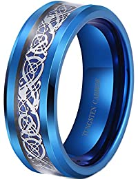 Anillo de plata para hombre, diseño de dragón celta incrustado, color azul, con carburo de tungsteno, ajuste cómodo, para boda,…