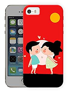 "Humor Gang Cute Couple Kissing Cartoon Printed Designer Mobile Back Cover For ""Apple Iphone SE"" (3D, Matte Finish, Premium Quality, Protective Snap On Slim Hard Phone Case, Multi Color)"