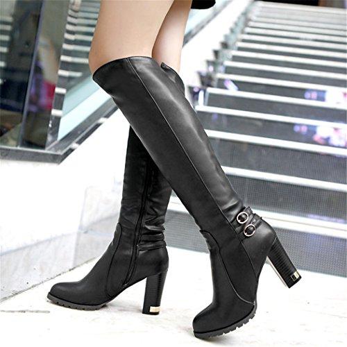 Cadeaux De Noël Zq @ Qx En Europe Et Aux États-unis Le Code Avec Des Bottes Hautes Chaussures À Talons Hauts Avec Des Chaussures Noires Des Femmes