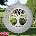 Edelstahl Windspiel - LEBENSBAUM 300 - lichtreflektierend - Durchmesser: 27.5cm - inkl. Aufhängung von Colours in Motion - Du und dein Garten