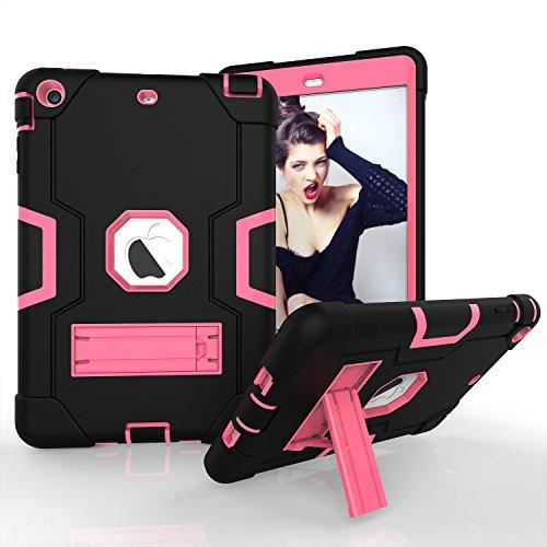 für iPad Mini 2, iPad Mini 3, dreilagiges Silikon + Harte PC Bumper Armor Defender strapazierfähig stoßfest robust Hybrid Schutzhülle mit Ständer für iPad Mini 1/2/3, Schwarz/Rosé ()