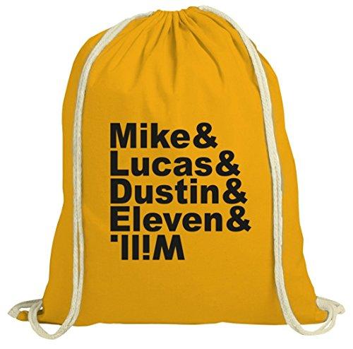 Mystery natur Turnbeutel mit Mike Lucas Dustin Eleven Will Motiv von ShirtStreet gelb natur