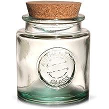 Auténtico cristal reciclado tarro con tapa de corcho 250 ml - Vintage 100% reciclado de
