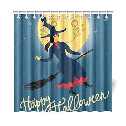 ad Vorhang Halloween Fliegende Hexe Auf Polyester Wasserdicht Duschvorhang Für Bad, 72X72 Zoll Duschvorhang Haken Enthalten ()