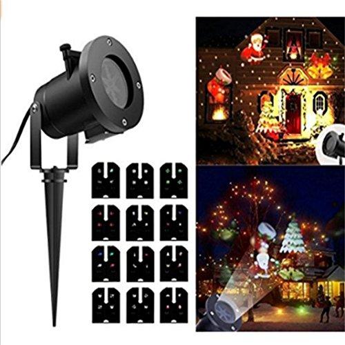 Wokee Projektor Nachtlichter Rotierende Projektion Led Lights 12 PCS Muster Objektiv Weihnachtsstern Multicolor Für Kind Schlafzimmer Weihnachten Geschenk Starry Stern Mond Projektions Nacht Lampe (A)