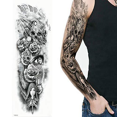 Adgkitb 2 pezzi tatuaggi temporanei, lupo, tigre, orso, guerriero, simbolo tribale tqb02 48x17cm