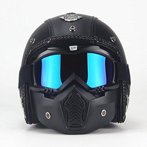zyy Casco Halle Four Seasons Motorbike Crash Casco modulare Full Face Racing Casco Moto con Visiera Parasole per Uomo Adulto (Colore : Nero, Dimensioni : XL)
