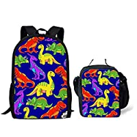 Children School Bag Set 2PCS Bookbag with Lunchbag Cartoon Dinosaur Design