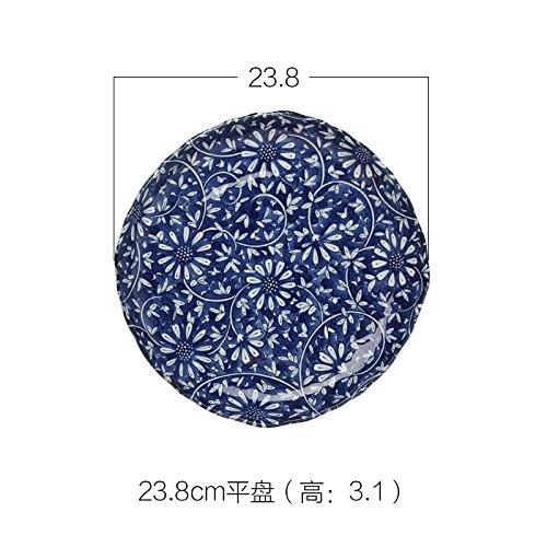 YUWANW [Japanisch Retro Blue Daisy - Hohe Schüssel Flache Platte Keramik Teller Teller Fach, 23,8 cm Flache Tastatur (3,1Cm) Daisy-teller
