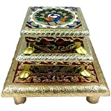 Evisha Handicraftmeenakari Wooden 3 Chowki/patla Size 12,14 Or 19cm For Puja, Festivals, Home Decoration And Gift(set Of 3)