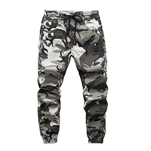 YoungSoul Hosen für Jungen - Jogginghose mit Bündchen und Military-Muster - Cargohose mit Kordel-Taille Grau(Regular Fit) 170-176