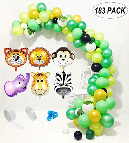 Dschungel Safari Theme Partydekorationen 183pcs: 150 Latexballons, 6 Mini-Dschungeltier-Mylar-Ballons, 24 grüne Palmblätter, 16 Füße Bogen-Ballon-Streifen, 100 Punktkleber, 1 Ballon-Bindehilfsmittel (Themes Für Safari)