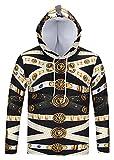 Pizoff Unisex Hip Hop Luxus Golden Sweatshirt Kapuzenpullover mit Bunt 3D Palace Still Digital Print - Ag002-06 - Large