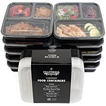 California Home Goods - Contenitori alimentari a 3 comparti, impilabili e con coperchi, adatti a microonde e lavastoviglie e riutilizzabili, confezione da 10