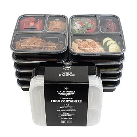 [10] Essensbehälter, 3 Fächer, stapelbar, für Essen, mit Deckeln, mikrowellengeeignet, spülmaschinenfest und wiederverwendbar. Mit Unterteilungen; von California Home