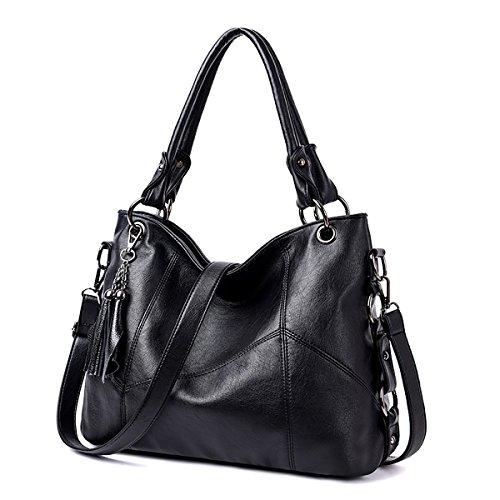 Coolives Damen Langer Schultergurt Geometrisches Stickgarn Handtaschen Schwarz