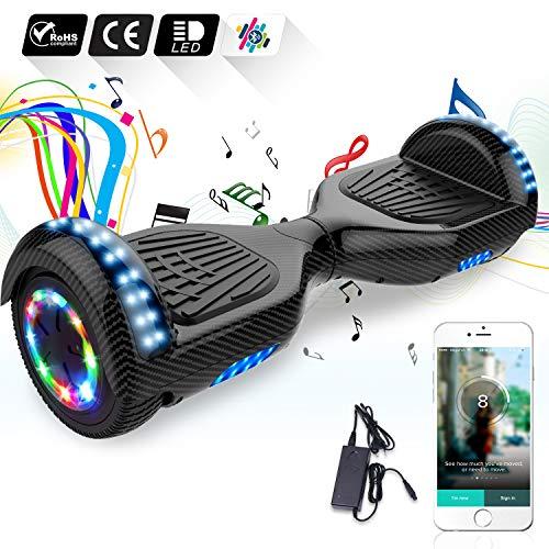 COLORWAY Hoverboard Flash-Rad Balance Elektro Scooter Roller EU Sicherheitsstandard, mit Bluetooth Lautsprecher und LED-Lichter (Karbon) Bluetooth Flash